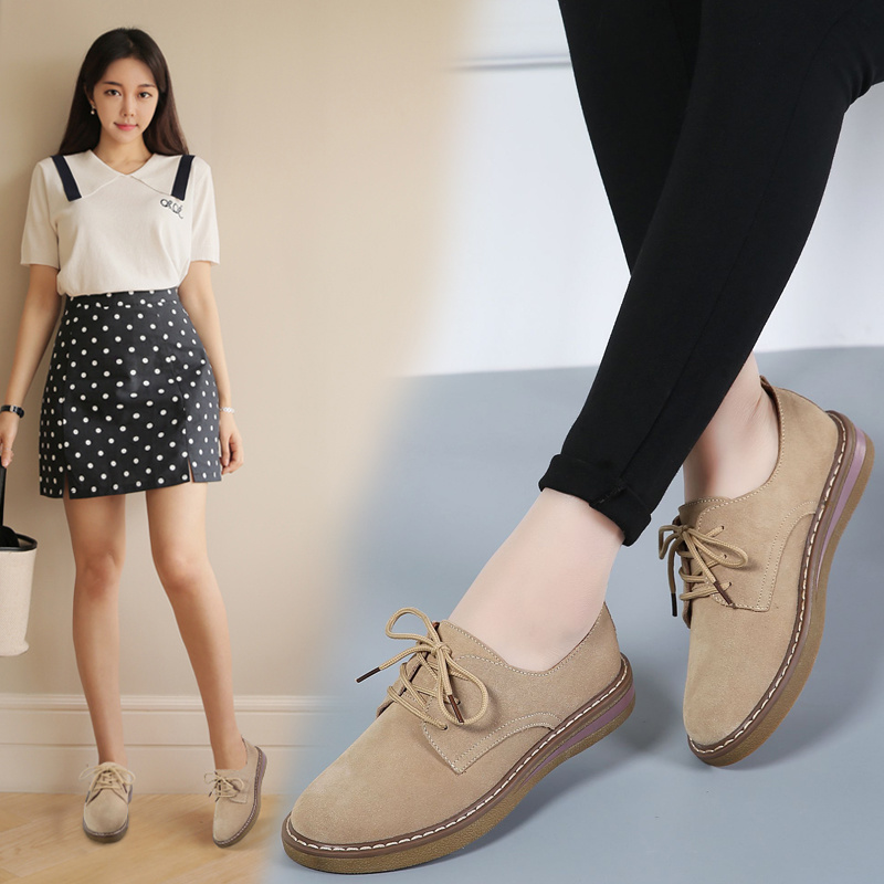 Spring Autumn Women Genuine   leather   Shoes Woman   Suede     Leather   Flat Shoes Lady Casual Lace Up Flats Female Footwear X-219-3