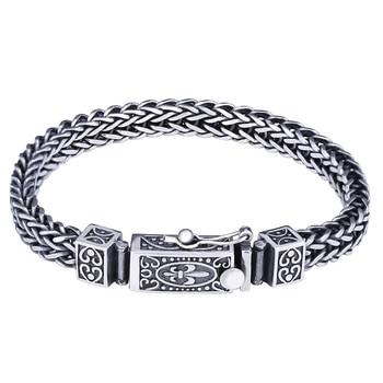 Solid Silver 925 Woven Chain Bracelet Men Women 100% Genuine Sterling Silver 925 Vintage Vine Bracelet Cool 925 Jewelry Gifts