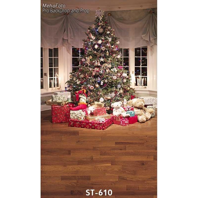 5faadcdaf عيد الميلاد خلفية الفينيل خلفيات للتصوير الفوتوغرافي الكمبيوتر المطبوعة  شجرة عيد الميلاد هدية مربع ل استوديو الصور ST-610