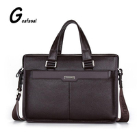 Brand P KUONE Genuine Cow Cowhide Leather Men S Briefcase Shoulder Laptop Bags Handbag For Male