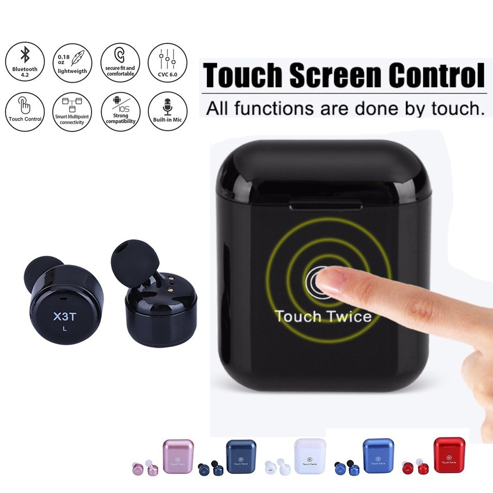 Kowinvin True Wireless Earbuds Twins X3T Bluetooth 4.2 Earphone Stereo Headset with Charger Box Case Touch Control for iPhone