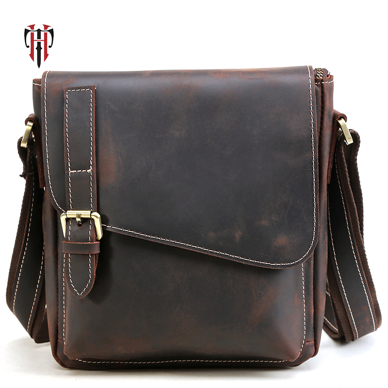 TIANHOO messenger bag men genuine leather bags crazy horse flap shoulder