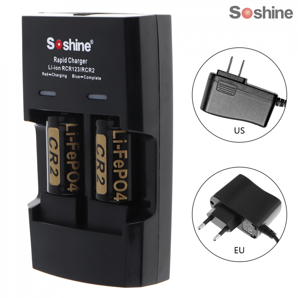 все цены на Soshine Li-FePO4 CR123 / CR2 Battery Intelligent Rapid Charger + 3V 400mAh CR2 LiFePO4 Rechargeable Battery