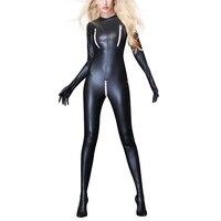 Faux Leather Long Sleeve Open Crotch Latex Bodysuit Sexy Lingerie Zipper Latex PVC Catsuit Night Club Pole Dance Jumpsuit