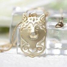 1pc Chic Alaskans Malamute Husky Necklace Metal Siberian Alaskan Necklace Animal Shape Gold Filled Pet Lovers Gift Idea M11042