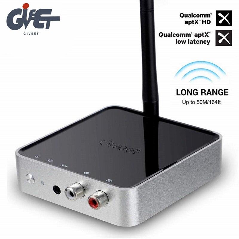Adaptateur Audio longue portée 328ft Bluetooth 5.0 émetteur récepteur APTX HD et faible latence optique RCA 3.5mm AUX pour TV Music Stere