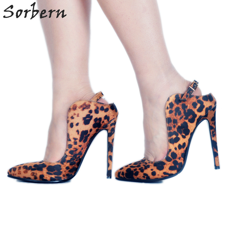 Sorbern Brown Leopard Pointed Toe Women Pump High Heels Summer Shoes African Party Shoes High Heel Size 34 Footwear WomanSorbern Brown Leopard Pointed Toe Women Pump High Heels Summer Shoes African Party Shoes High Heel Size 34 Footwear Woman