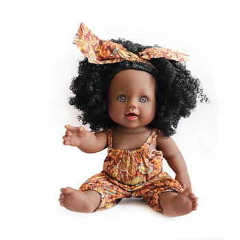 40cm soft silicone vinyl rebron baby doll non toxic safe toy handmade lifelike newborn baby toy doll for children girls playmate American Reborn Black Doll 12 Inch Handmade Silicone Vinyl Baby Soft Lifelike Newborn Baby Doll Toy Girl Christmas Gift