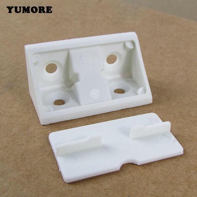 YUMORE 50PCS Shelf Cabinet 90 Degree Plastic Corner Braces Angle Brackets  White