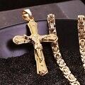 Banhado A Ouro de Cristal de Aço Inoxidável cristão Jesus Pingente Cruz Colares com Elo Da Cadeia Bizantino Pesado Homens Meninos Colar