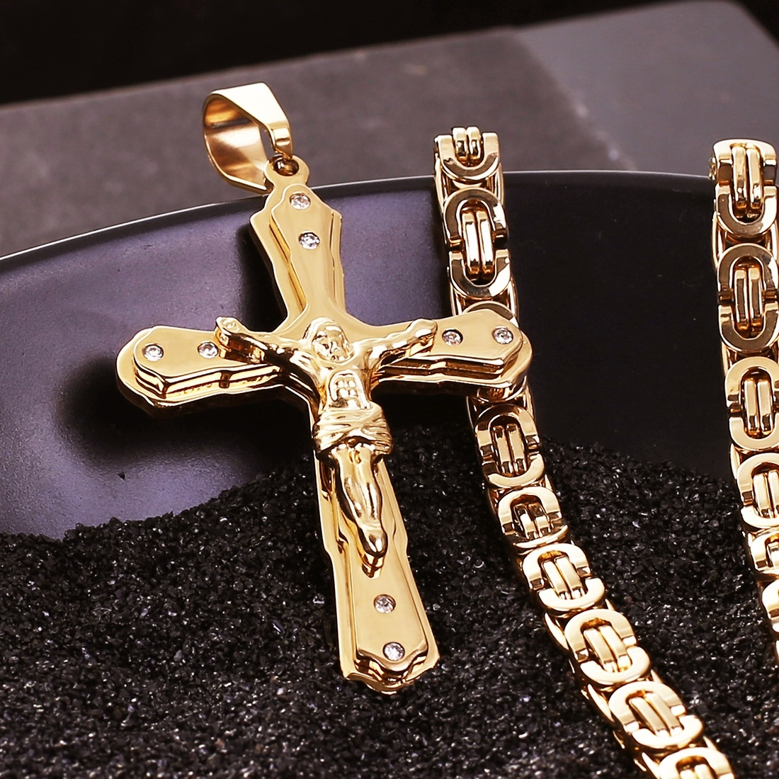 fca4a05742e9a Christian Stainless Steel Gold Plated Crystal Jesus Cross Pendant Necklaces  with Heavy Link Byzantine Chain Men Boys Necklace-in Pendant Necklaces from  ...