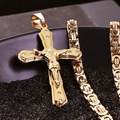 Christian Stainless Steel Gold Plated Crystal Jesus Cross Pendant Necklaces with Heavy Link Byzantine Chain Men Boys Necklace