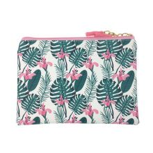 KANDRA Monstera Palm Flower Print Leather Tassel Zipper Cosmetic Bag for Women
