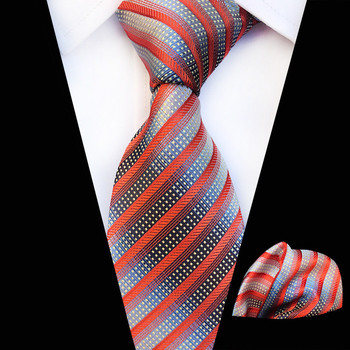 2019 New Arriving Silk Tie Fashion Design Neck Wear Hanky Set Classic Orange Silver Gray Blue Gravatas for Men
