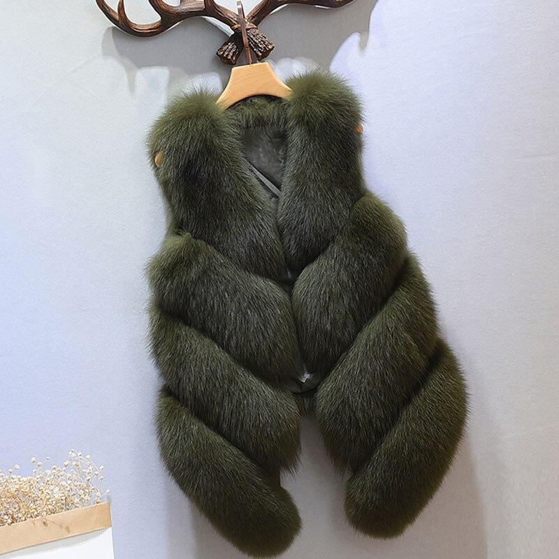 S-4XL женский Мех животных жилет Новинка года зима теплая искусственного лиса Мех животных жилет Для Женщин высоком Класс Мода o-образным вырезом с длинным Мех животных пальто кардиган - Цвет: Армейский зеленый