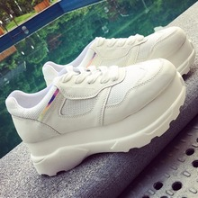 2016 Women Casual Shoes Fashion PU Leather High Platform Tenis Feminino Height Increasing Chaussure Femme New Zapatos Mujer