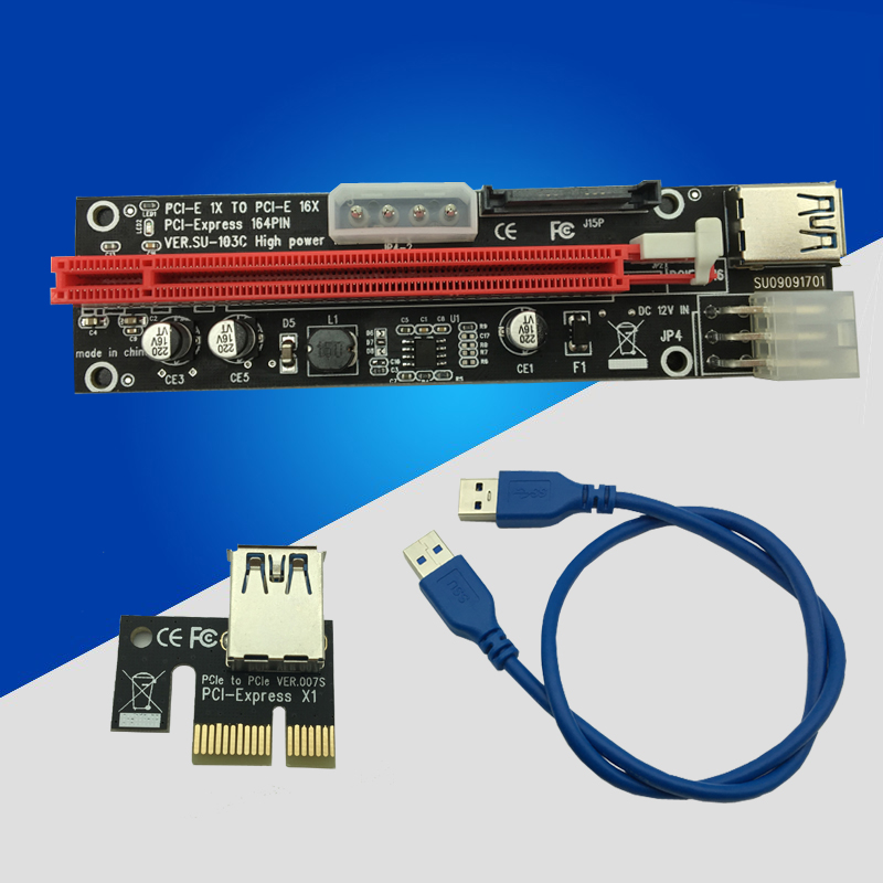 NEW 3 in 1 60cm <font><b>USB</b></font> <font><b>3.0</b></font> <font><b>PCIe</b></font> 1x to 16x PCI Express Extender Riser Card SATA 6pin 4pin Power Supply for Bitcoin Miner Mining BTC image