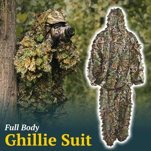 Outdoor Woodland Camouflage Tactical Camo Ghillie Suit Kit Cloak Military 3D Leaf Jungle Hunting Camouflage Sniper Clothes hunting woodland camouflage sniper ghillie suit set