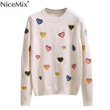 NiceMix 2019 Autumn Winter Casual Sweater Women Heart Embroidery Harajuku Knitted Pullover Tops Pull Femme