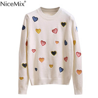 NiceMix 2019 Autumn Winter Casual Sweater Women Heart Embroidery Harajuku Knitted Pullover Sweater Women Tops Pull Femme