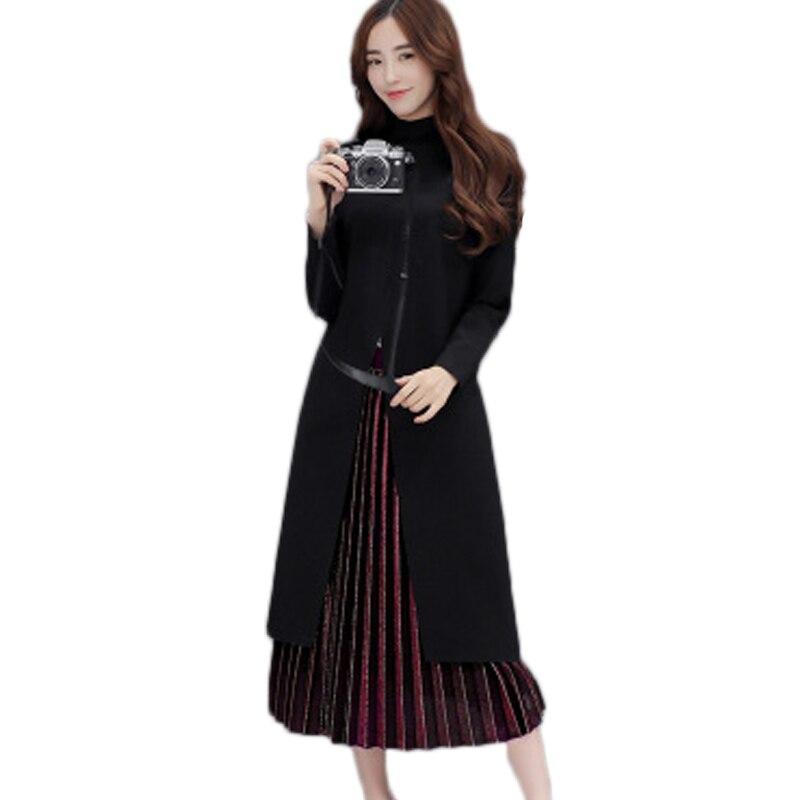 Fashion Women Retro Vintage Two Piece Dress Elegant Lady Amy Green Plus Velvet Pleated Dress ...