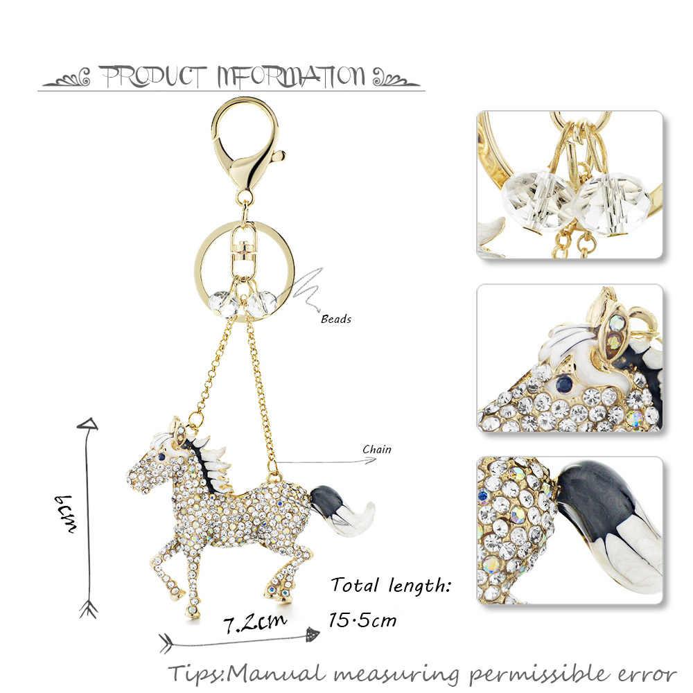 Dalaful шикарные брелоки с лошадьми брелоки AB Кристалл простая украшенная бисером сумка Подвеска для автомобиля женские Брелоки держатель кольца K317