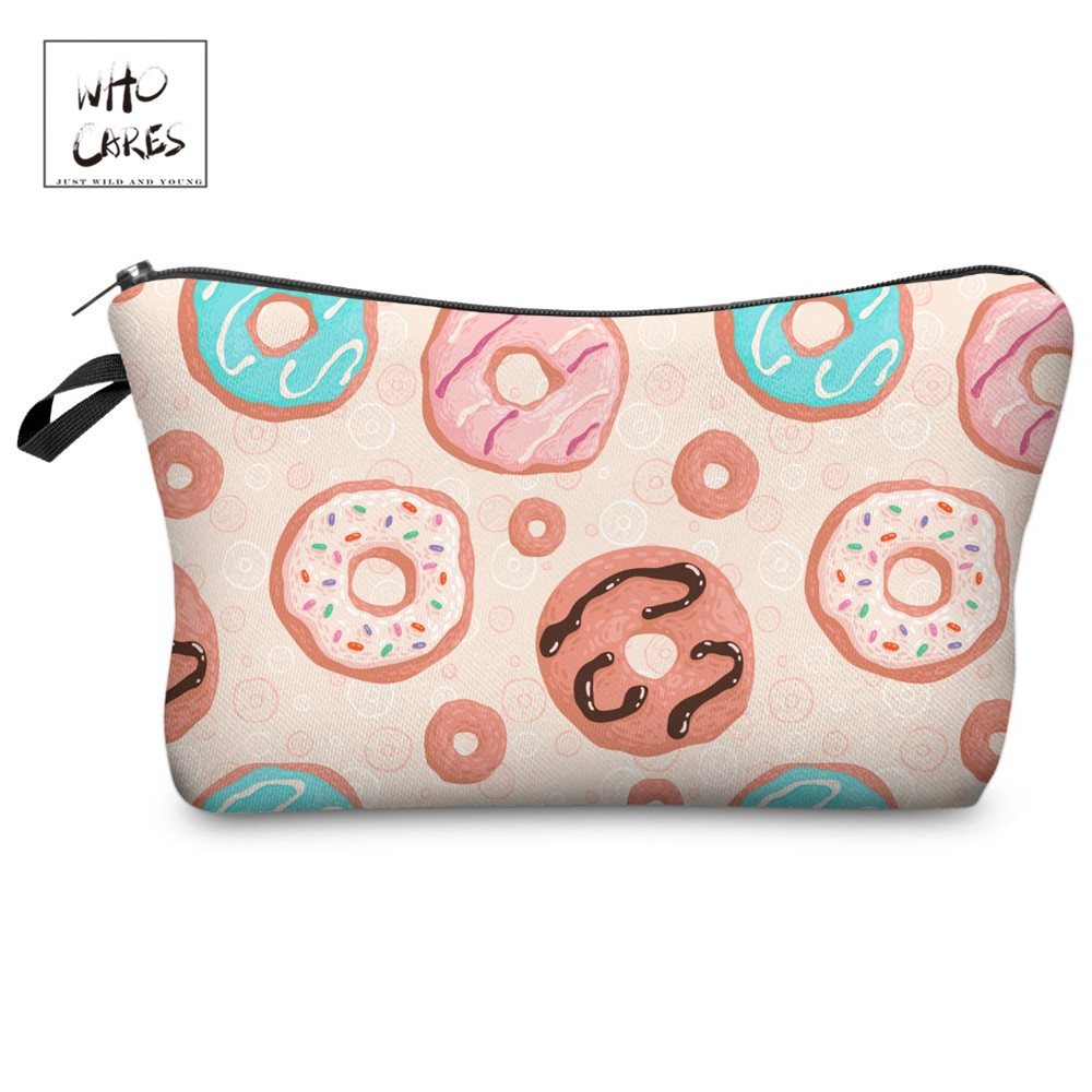 Who Cares Fashion Makeup Bags Donut Printing With Multicolor Patter Cosmetics Pouchs For Travel Ladies Pouch Women Cosmetic BagWho Cares Fashion Makeup Bags Donut Printing With Multicolor Patter Cosmetics Pouchs For Travel Ladies Pouch Women Cosmetic Bag