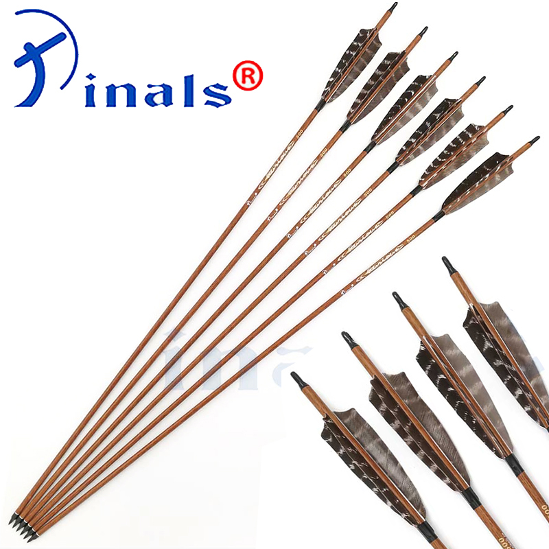 Чистый углерода древесины кожи стрелки позвоночника 400 500 600 ID 6,2 мм натуральных перьев индейки соединения традиционная охота с луком стрель...