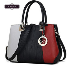 women Satchel all-match leisure fashion stitching color sweet lady Shoulder Handbag