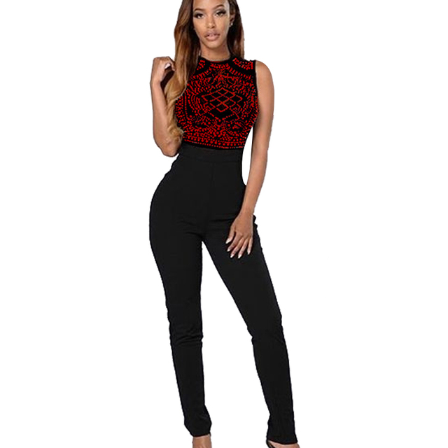 Sexy Night Club Diamond Black Jumpsuit Slim Sleeveless Elastic Waist Bodycon Femme Overalls Fashion Rompers Women Jumpsuit
