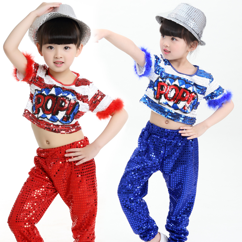 Free Shipping Fashion Sequin Jazz Costumes Kids Dance Dress Children Girls Stage Performance Ballroom Clothes Hip Hop Dance Wear