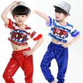 Free Shipping Fashion Sequin Jazz Costumes Kids Dance Dress Children Girls Stage Performance Ballroom Clothes Hip Hop Dance Wear