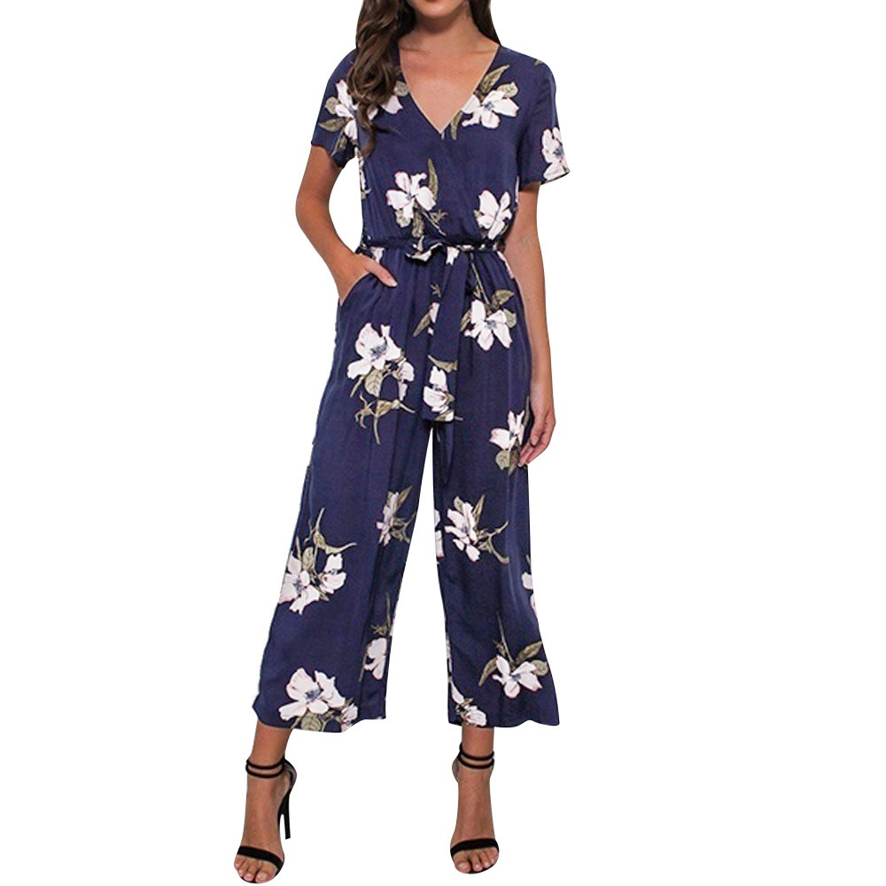 Women Rompers Womens Jumpsuit 2020 V Neck Short Sleeve Elastic Bandage Floral Printed jumpsuits Womens Clothing Vestidos#24