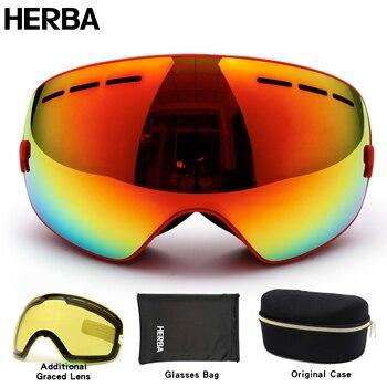 משקפי סקי מותג חדש HERBA UV400 אנטי ערפל משקפיים גברים נשים שלג סקי משקפי סנובורד מסכת סקי גדולות HB3-3