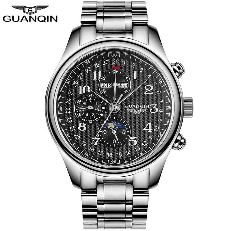Relogio Masculino GUANQIN Automatic Waterproof Sapphire Stainless Multifunction Mechanical Men Watches Top Brand Luxury Watch