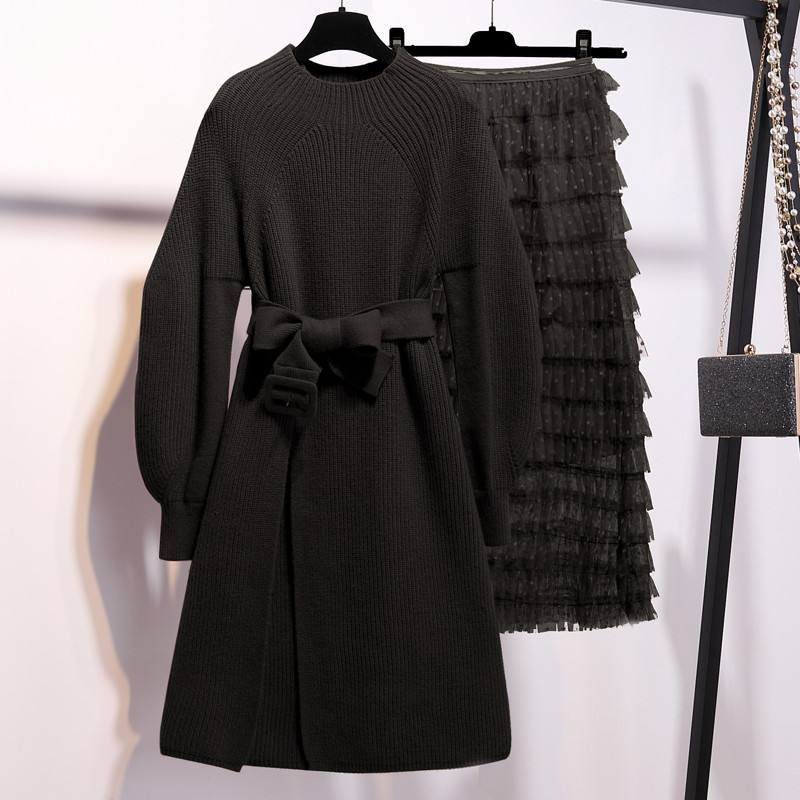 2019 Spring Autumn Women Lantern Sleeve Knitted Sweater Tops + Mesh Pleated Cake Skirt Sets Female Solid Suits With Sashes V615