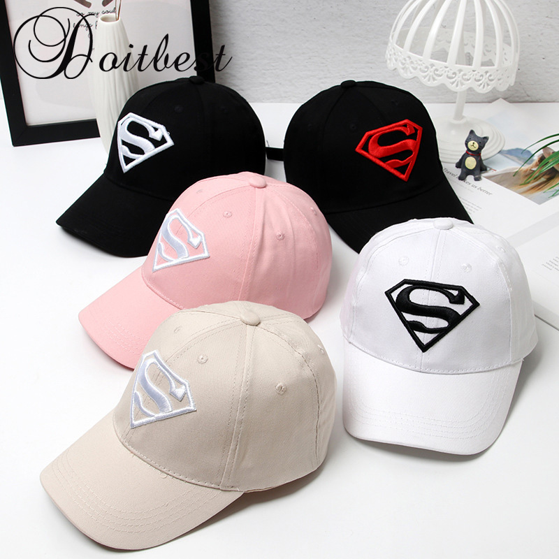 Doitbest cartoon 2-7 Y Children HipHop embroidery Superman Child   Baseball     Cap   Summer kids Sun Hat Boys Girls snapback   Caps