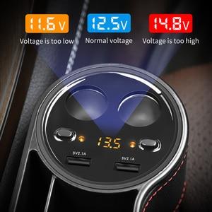 Image 5 - Caja de almacenamiento de hendidura de asiento para coche 2 cargadores USB para coche, encendedor de cigarrillos, bolsa organizadora para automóvil, espacio de bolsillo, tarjetero de carga