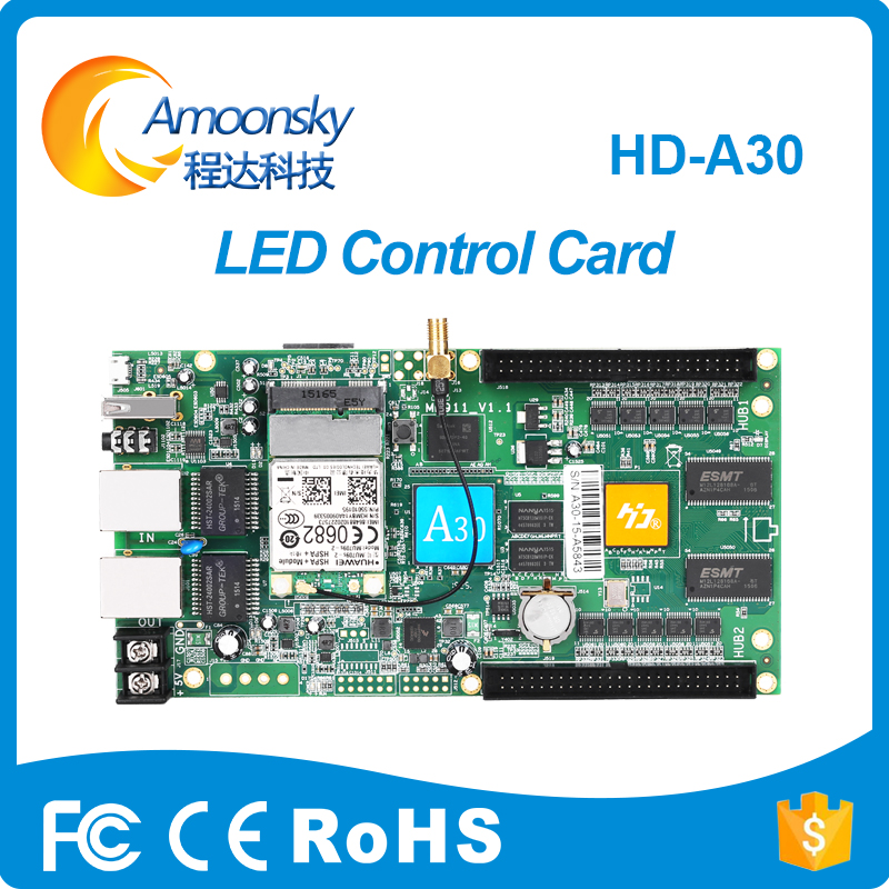 HD-A30 with wifi controller huidu new product led display special for small dot pitch display a30 hd a30 full color led dpanel controller large display sending card and sensor box support ir temperature humidity brightness