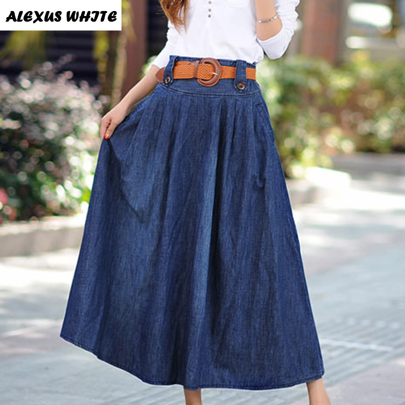 Maxi Jeans Skirts Women's 2017 Summer New Large Swing Denim ...