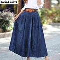 Maxi Jeans Skirts Women's 2017 Summer New Large Swing Denim Pleated Skirt Female