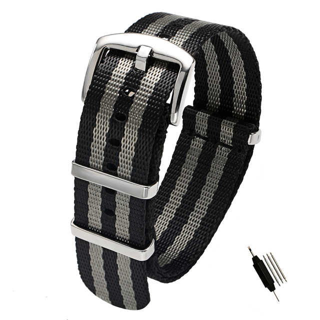 18 20 22 24mm Seat Belt Nylon NATO Zulu Strap Heavy Duty Military Watch Band Rep