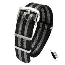 18 20 22 24mm Seat Belt Nylon NATO Zulu Strap Heavy Duty Military Watch Band Replacement Watch Straps Black/Grey James Bond