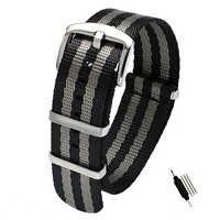 18 20 22 24mm pas bezpieczeństwa nylonowy pasek NATO Zulu Heavy Duty zegarek wojskowy wymienna opaska paski do zegarków czarny/szary James Bond