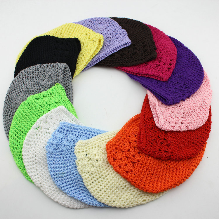 New 14 colours high quality baby Crochet Cap Skullies Kufi Hats Toddler  Girl Beanies Knitted Hat baby accessories 30pcs/lot leather skullies cap hats 5pcs lot 2278
