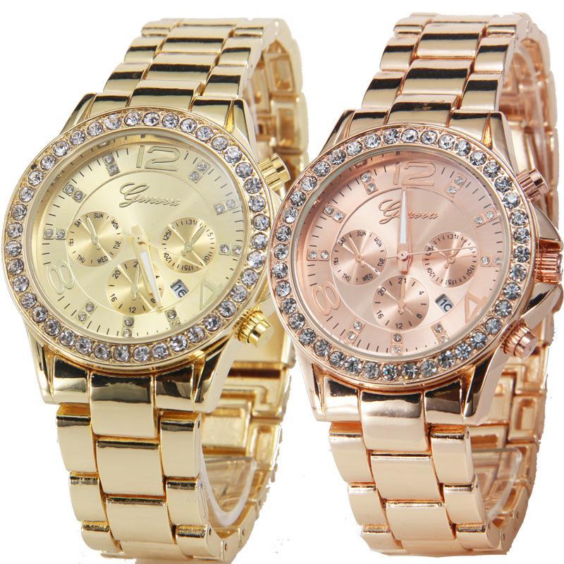 2016 New Style Business Gold Color Three Eyes Six Pin Diamond Steel Band Geneva Quartz Relogios Watch
