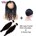 Pre Plucked 360 Lace Frontal With Bundles 7A Brazilian Deep Wave Curly With Frontal Closure Lace Frontal Closure With Bundles