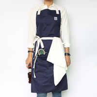 WEEYI Baumwolle Schürze Küche mit Taschen für Frauen & Männer als Uniform in 4 Farben für Bäcker Zeichnung Barista Chef Gärtner S bis XXL