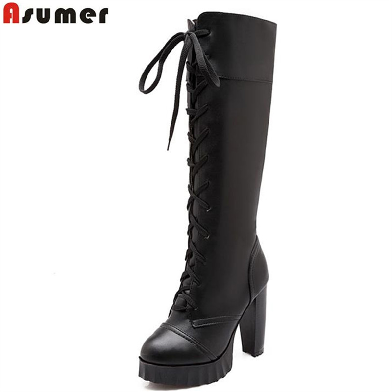 ФОТО ASUMER 2016 new arrival equestrian boots fashion lace up round toe square heel knot pu knee high boots solid platform shoes
