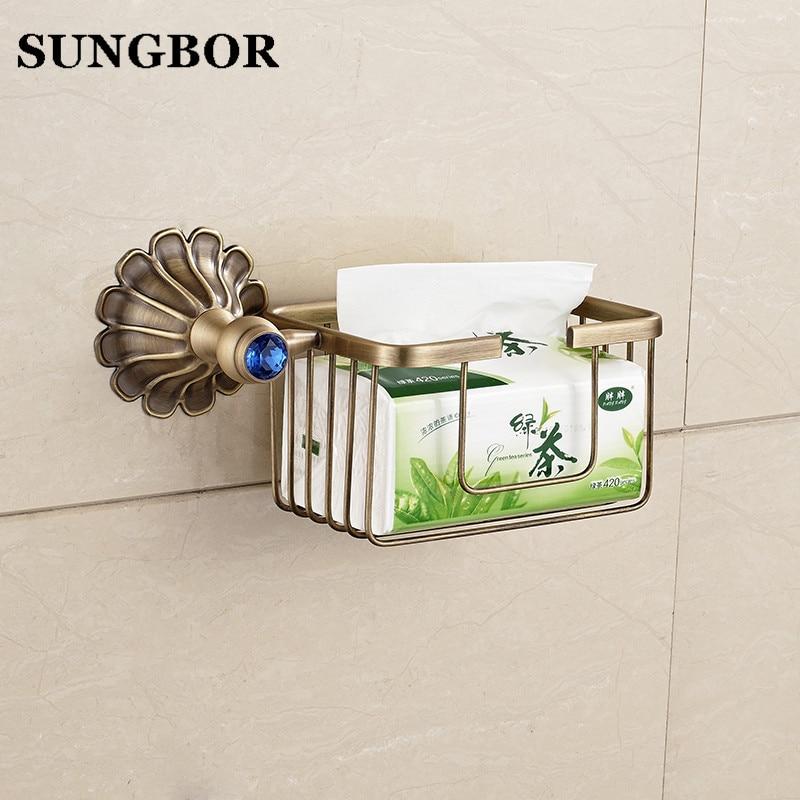 ФОТО All Copper European Paper Towel Basket Crystal Golden Paper Towel Basket Toilet Paper Tissue Box Bathroom Hand Cartons HQY-2308K